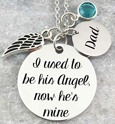 Memorial Jewelry Necklace - I used to be his angel, now he's mine - Name Disc, Angel Wing & Birthstone Crystal