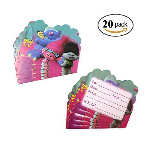 24 Count Trolls Invitation Cards Kids Party Supplies Not Include Envelopes