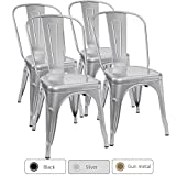 Furmax Metal Dining Chair Tolix Style Indoor-Outdoor Use Stackable Chic Dining Bistro Cafe Side Metal Chairs Silver (Set of 4)