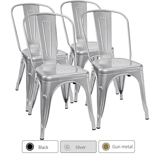 Furmax Metal Dining Chair Tolix Style Indoor-Outdoor Use Stackable Chic Dining Bistro Cafe Side Metal Chairs Silver (Set of 4) (Table Chairs And Bistro Silver)