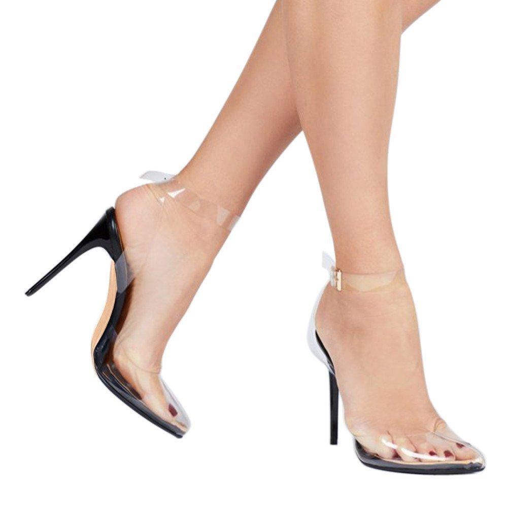 e4a03dfaa47 Cdvintu women pointed toe transparent high heels lucite clear dress sandals  ankle strappy bukle stilettos pumps