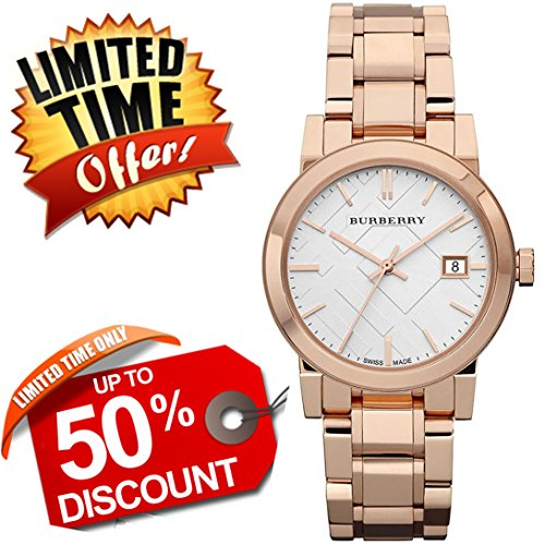 Burberry The City SWISS LUXURY Round Rose Gold 34mm White Date Dial Women Watch BU9104