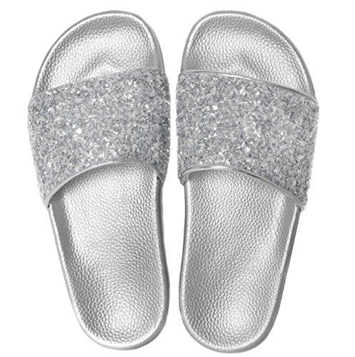 Women's Crush Silver Sandals Slider Slydes qwEUB6Ay