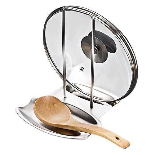 OFKP® Pan Pot Rack Cover Lid Rest Stand Spoon Holder Stainless Steel Silver
