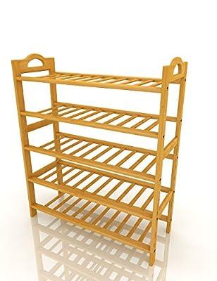 "Wooden Shoe Rack Bamboo 5-Tier Entryway Shoe Shelf Storage Organizer By ISINO ?L 27.6""X W10.2""X H 35.4""?"