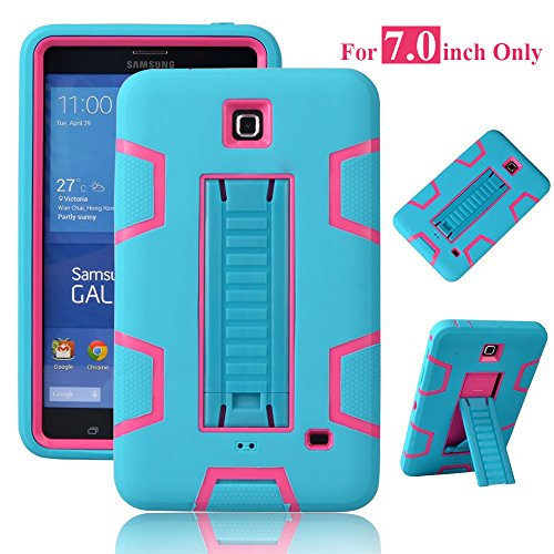 Galaxy Tab 4 7.0 Case, Magicsky 3in1 Heavy Duty Hybrid Shockproof Armor Kickstand Case For Samsung Galaxy Tab 4 7.0 T230 /T231/ T235 Galaxy Tab 4 Nook Cover - Hot Pink/Teal
