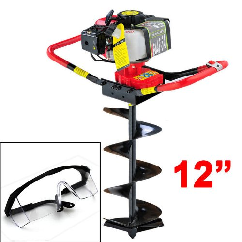 GHP 2.3 Horse Power Post Hole Digger w 12'' Auger Bits & Safety Glasses