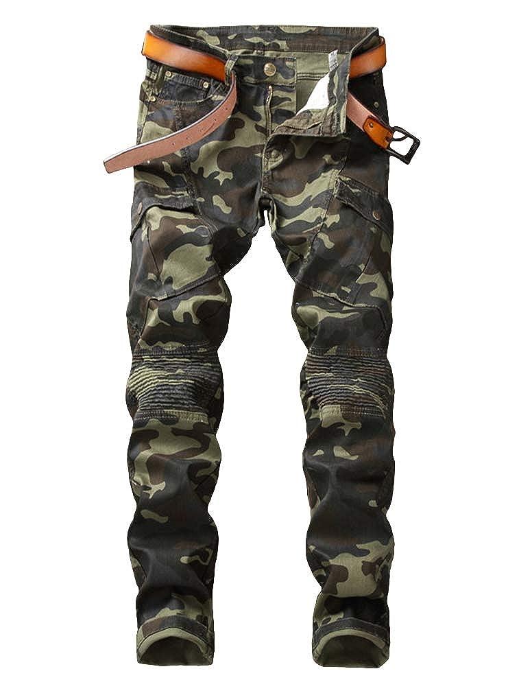 Enrica Mens Runway Straight Slim Fit Zipper Moto Biker Jeans