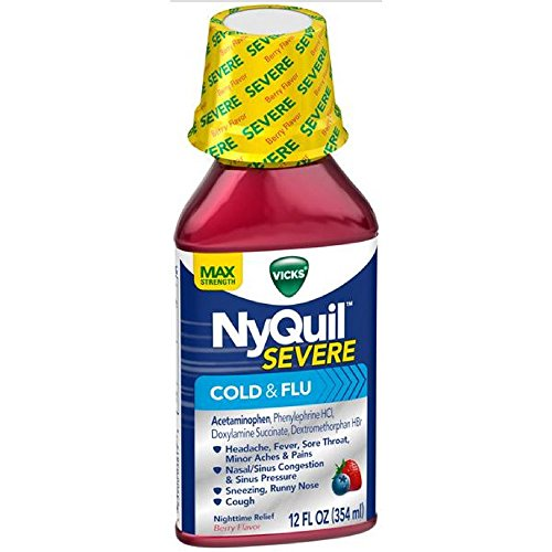 Vicks NyQuil Severe Cold Flu Liquid Berry Flavor, Berry Flavor 8 oz (Pack of 3) -  Procter & Gamble