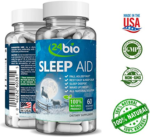 24bio Natural Sleep Aid Dream Supplement, Sleep Well, Wake Refreshed, Magnesium for Adults, Herbal Sleeping Complex, Full of Valerian Extract, Vitamin B1, B2, B6, B5 Passion Flower, Vegan Pills