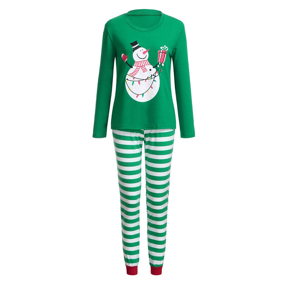Kehen Family Matching Christmas Pajamas Set Xmas Snowmen Tops and Green Striped Pants Sleepwear for Family