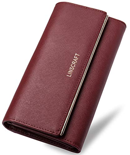 Womens Wallet RFID Blocking Trifold Leather Wallet Credit Card Holder Wallet