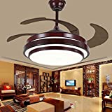 TiptonLight Mahogany Retractable Led Ceiling Fan-42 Inch with 4 Acrylic Blades-Simplicity Style for Living Room,Bedroom,Dining Room and Study