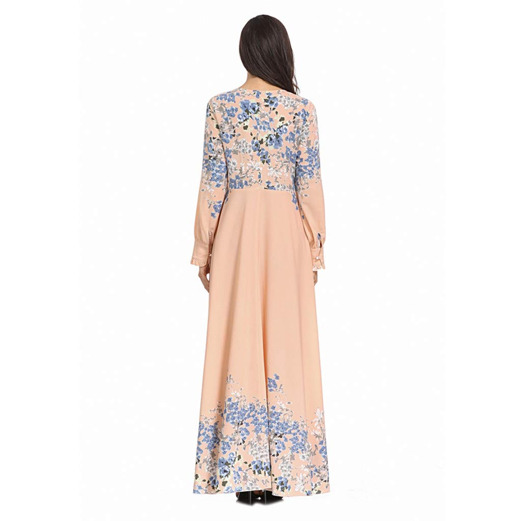 Women's Muslim Dress, Ladies Long Sleeve Islamic Arab Kaftan Casual Solid Floral Printed Maxi Dress Muslim Clothes by Cobcob Dress Clearance Sale! (Image #6)