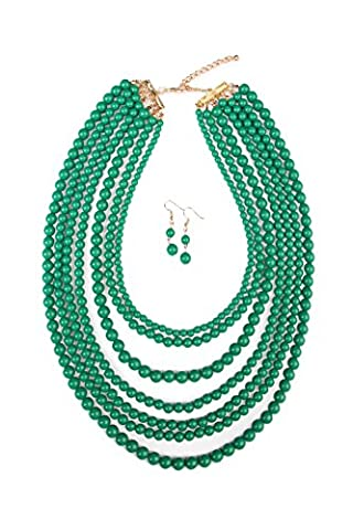 MYS Collection Women's Bubble Strand Necklace Set (Dark Emerald) - Coral 3 Strand Necklace