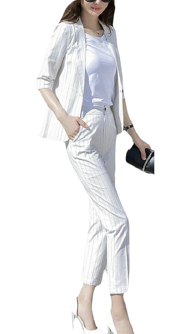RG-CA Women's 2Piece Office Lady Stripes Business Suit Set Blazer Jacket Pant