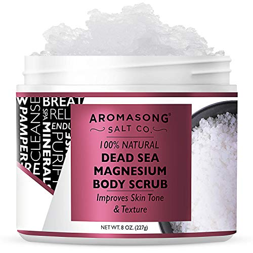 Aromasong 100% Pure RAW Dead Sea Magnesium Body Scrub, Exfoliating Salt Scrub, Natural Stretch Marks & Cellulite Reducer, Skin & Face Care Products For Women & Men, Moisturizing Beauty Cleanser, 8 Oz.