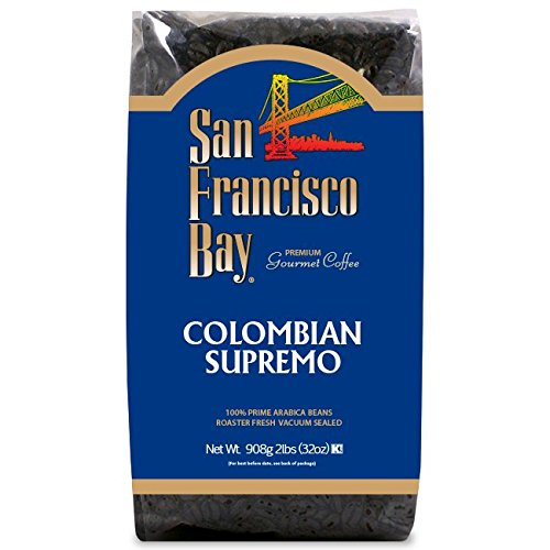 San Francisco Bay Coffee Colombian Supremo Whole Bean, 2 Pound Bag Whole Bean Premium Coffee, For Use with At-Home Coffee Grinders and Coffee Makers