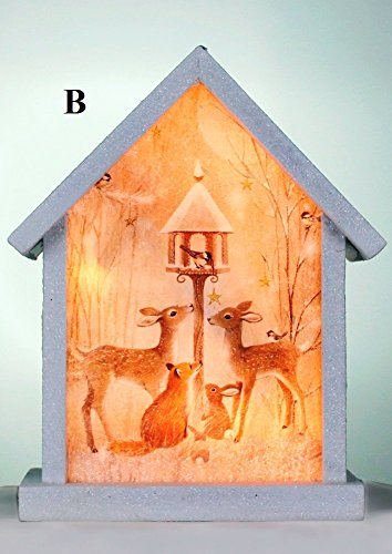 Cheap Stony Creek Soft Winter Collection Lighted Wood & Glass Birdhouse, Choice of Style (B)