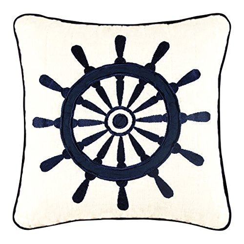 (C and F Enterprises Nantucket Dream 14 x 14 in. Embroidered Ships Wheel Pillow)