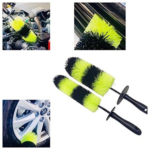 Premium Detail Brush 2 PACK With Black / Lime Green Bristles. For Wheels, Rims, Wheel Well, Engine, (Wheel Bay)