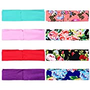 TinTop Headbands Baby Cute Girl Floral Printed Turban Head Wrap Elastic Hairband Stretchy Hair Bows Cross Knot Hair Clips for Babies (8 Pack)