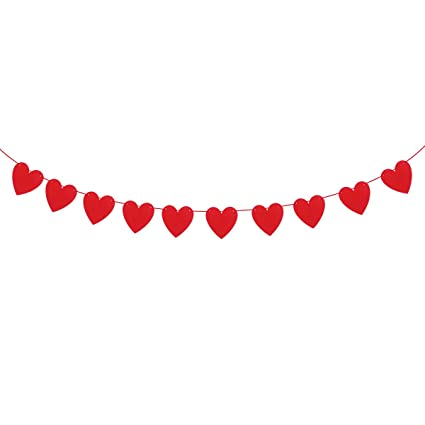 Amazon Com Tinksky Wedding Banner Heart Bunting Banners Garland