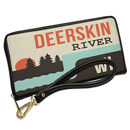 Deerskin Clutch (Wallet Clutch USA Rivers Deerskin River - Wisconsin with Removable Wristlet Strap Neonblond)