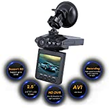 Lecmal/ Mini 2.5-inch Dash Cam with HD Car LED/ IR Vehicle DVR Road Dash Video Camera Recorder / Rotatable Traffic Dashboard Camcorder - LCD Recorder with 270 degrees whirl/ in black