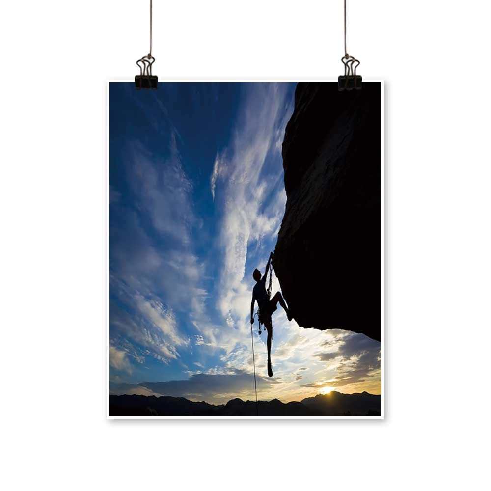 Panels Painting on Canvas Rock Climber Rappelling Past an Overhang in Joshua Tree National Park Artwork for Kitchen Room,28''W x 52''L/1pc(Frameless) by painting-home