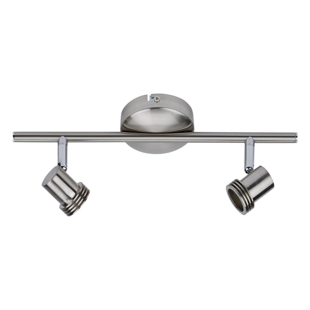 Biard Brunswick 2 Way Adjustable Spotlight Bar Ceiling Light Fitting GU10 Satin Nickel (LED Compatible) - Bedroom, Living or Dining Room
