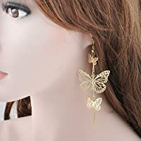 Fashion Long Dangle Drop Butterfly Earrings Womens Ear Hook Jewelry Gift Gold