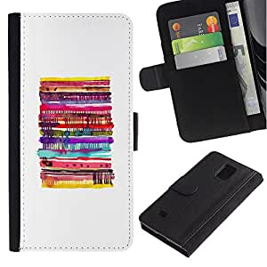 Billetera de Cuero Caso Titular de la tarjeta Carcasa Funda para Samsung Galaxy Note 4 SM-N910 / Pancakes Abstract White Pastry Kids / STRONG