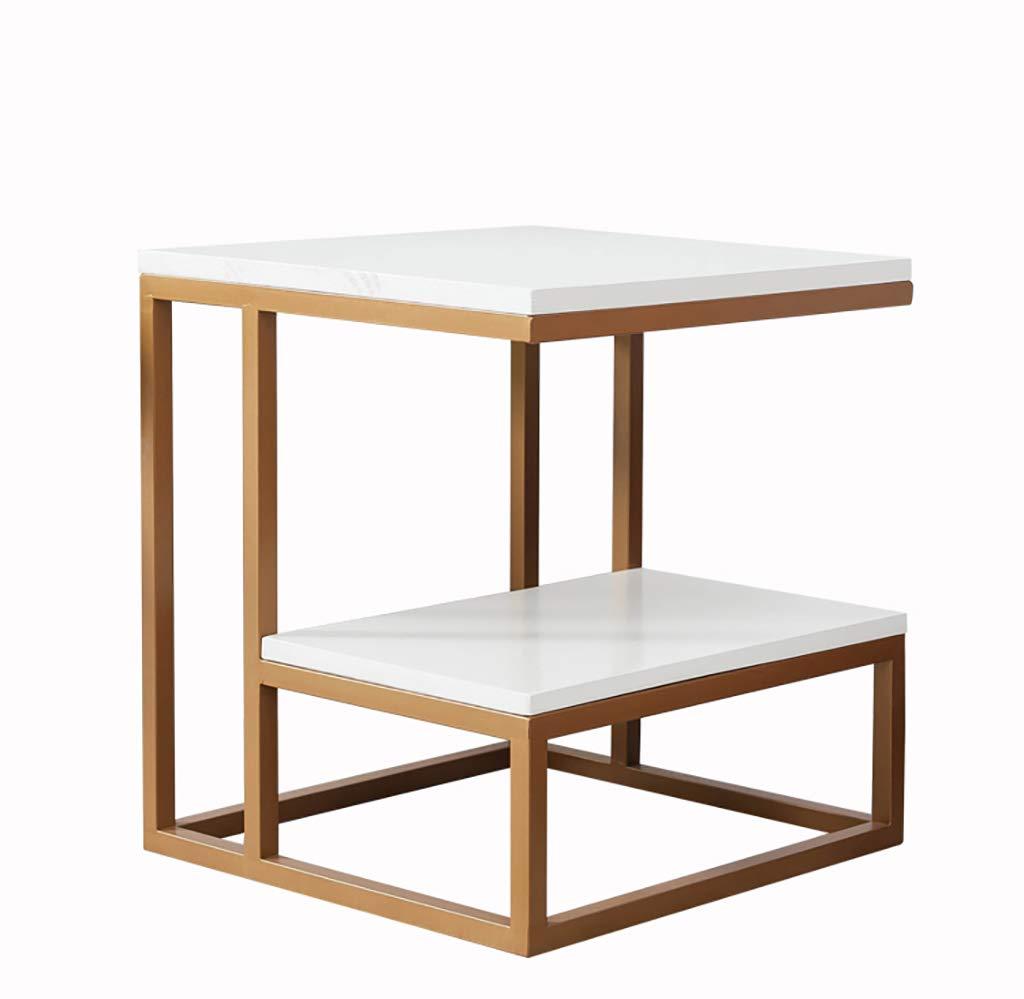 サイドテーブル ソファサイド小さなアパートのコーヒーテーブルシンプルなバルコニーベッドサイドテーブルサイドのリビングルーム小さな正方形のテーブルコーナー (色 : ゴールド) B07R5PSK6Z ゴールド