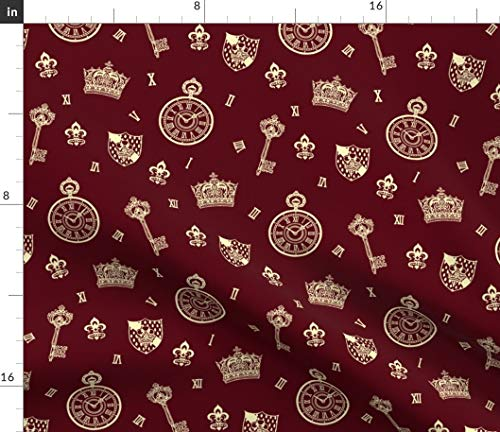 Spoonflower Pocket Watch Fabric - Antique Pocket-Watch Crown and Keys Maroon + Cream Clock Key Red Lolita Bordeaux Print on Fabric by The Yard - Velvet for Upholstery Home Decor - Velvet Bordeaux Fabric