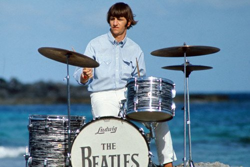 (The Beatles 24x36 Poster Ringo Starr on drums by)