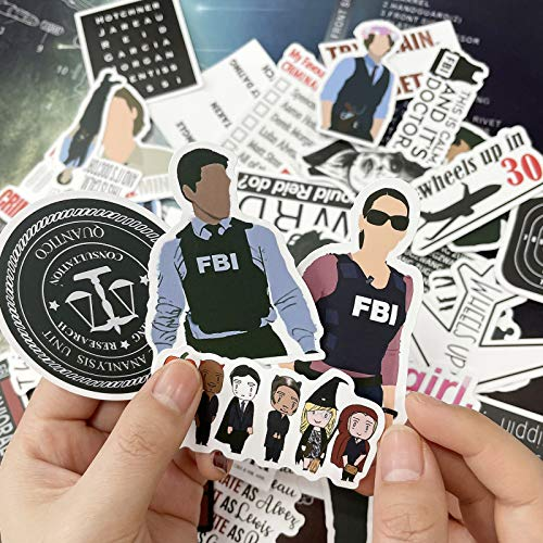 Criminal Minds Stickers, 50 Pcs Vinyls Waterproof Sticker of Water Bottle Hydroflasks Laptop Luggage Skateboard Decal Bicycle Snowboard Refrigerator for TV Show Fans