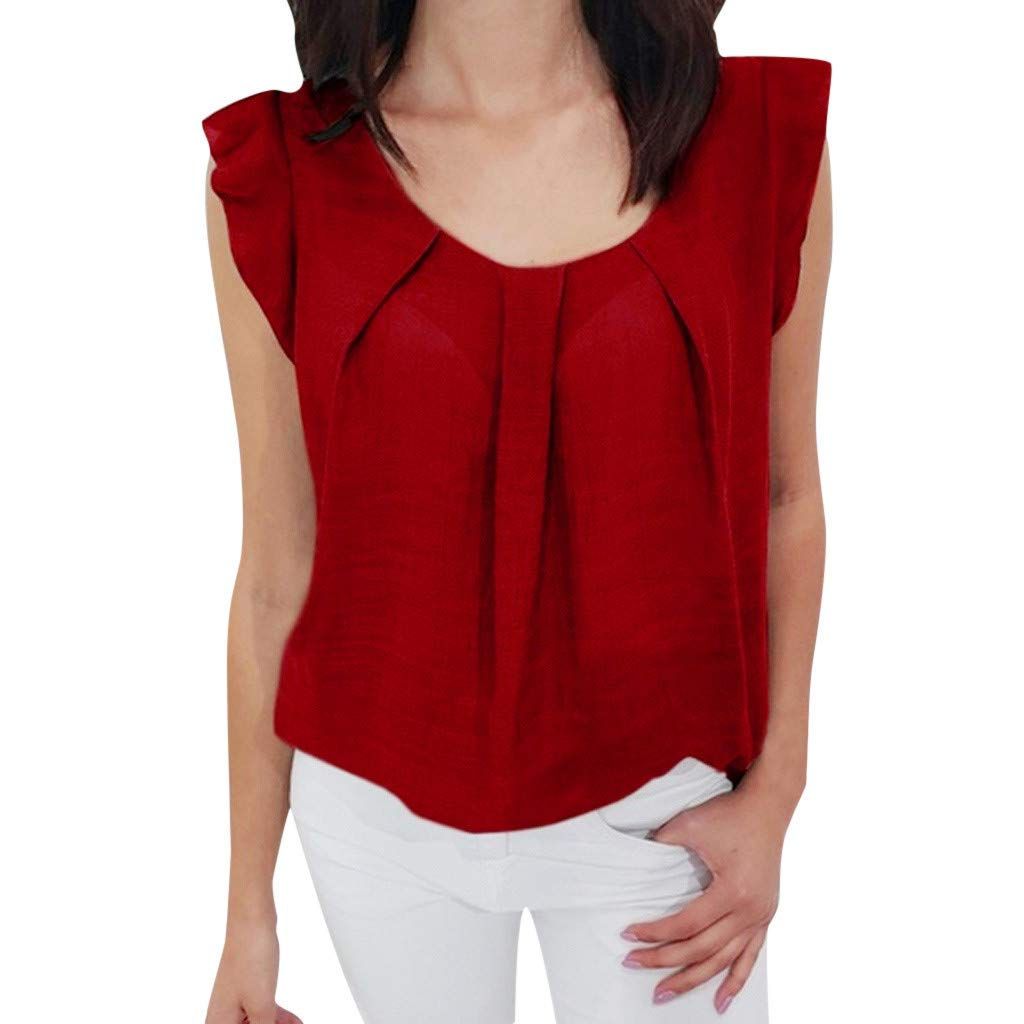 2019 Women Summer Sexy Ruffle Sleeveless Vest O- Neck Solid Chiffon Blouse Casual Loose T-Shirt Tank Tops S-2XL (Red, XL)