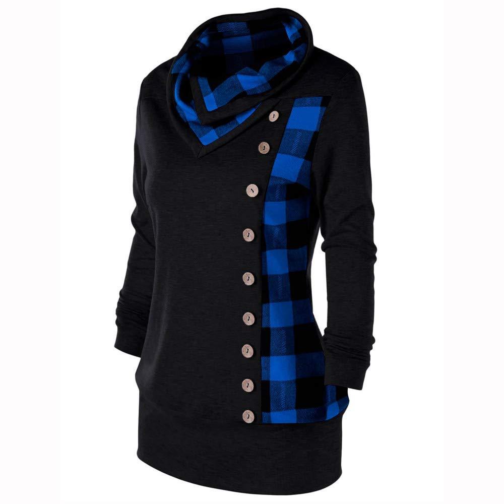 cc0035fc379 Rambling New Womens Plaid Raglan Long Sleeve Cowl Neck Button Pullover  Casual Tunic Sweatshirts at Amazon Women s Clothing store