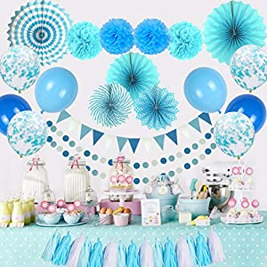 Party-Decorations-Multi-color-Hanging-Balloons-Paper-Fans-Pom-Poms-Flowers-Tassels-Garlands-Triangle-Flags-for-Birthday-Parties-Wedding-Decor-Fiesta-Party--by-DARKO-GT-Blue