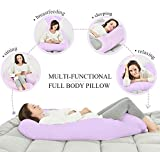 Angel Total Body Pregnancy Maternity Pillow - Tamaño completo - para dolor de espalda y para dormir lateralmente - Natural Cotton Pillowcase - Purple