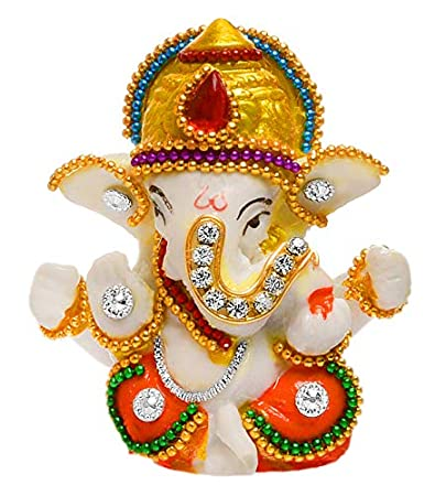 Karigaari India White Stone God Ganesha Car Dashboard Decor Statue | Hindu Idol God Ganesh Ganpati Decor Sculpture | Decorative Gift