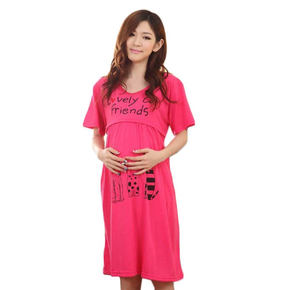 Womens Pregnant Dress, FTXJ Loose Large Cute Lactation Nursing Maternity Dress