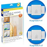 #2: Ceiling Wall Hooks for Hanging Keys – Set of 12 Stick On Removable Adhesive Wall Hangers without Nails - Reusable Multi Use Door Towel Hook for Bathrooms Kitchen Closet Nursery Dorm Room Essentials