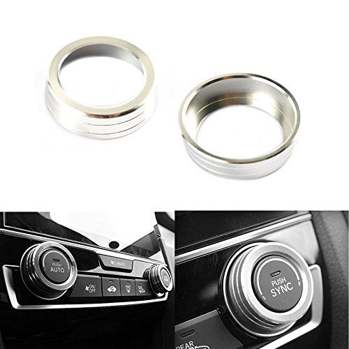 Xotic Tech 2x Silver Anodized Aluminum AC Climate Control Ring Knob Covers For 16-up Honda Civic