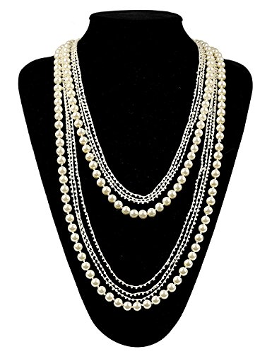 Costume Jewelry Necklaces (Zhisheng You Vintage Gatsby Faux Pearls Beads Cluster 1920s Long Necklace 59
