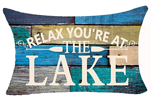 Andreannie Retro Vintage Wood Grain Background Funny Warm Sayings Relax Youre At The Lake Cotton Linen Throw Lumbar Waist Pillow Case Cushion Cover Home Office Decorative Rectangle 12 X 20 Inches