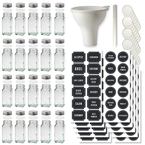 Certified Chef Set of 20 Spice Jars with 140 Spice Labels 40 Specialized Inserts and Stainless Steel Lids