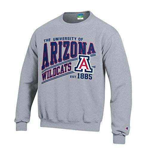 (Champion NCAA Arizona Wildcats Youth Boys Fleece Crew, Large, Gray)