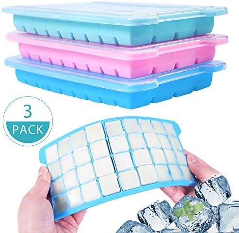 Wanap 3 Stück Eiswürfelform silikon, 36-Fach Eiswürfelbehälter zum Einfrieren, 108 Eiswürfel für Kühlschrank, Mikrowellenherd, Ofen. 3er Set für Eiswürfel, Schokolade, Kindernahrung usw - Mit Deckel